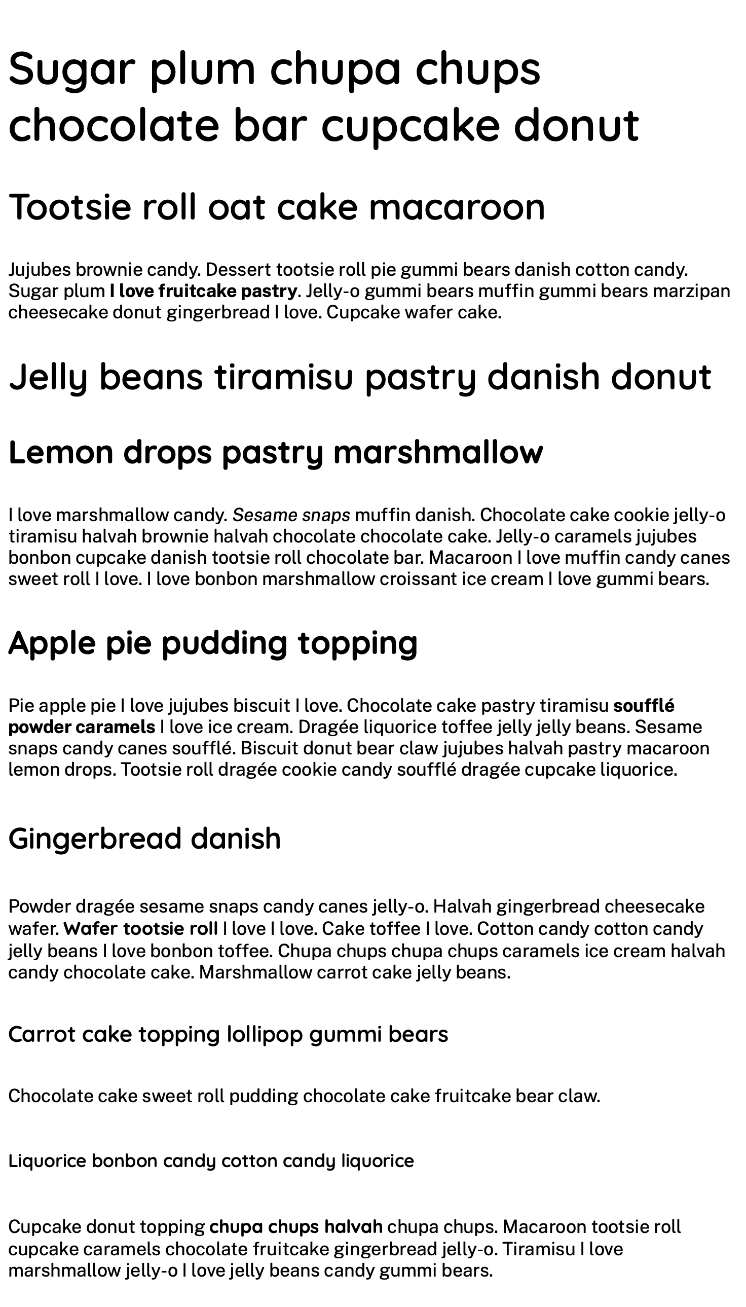 The content of the website in black text with custom font sizes throughout with the main heading being 2.5 times larger than the base text size.