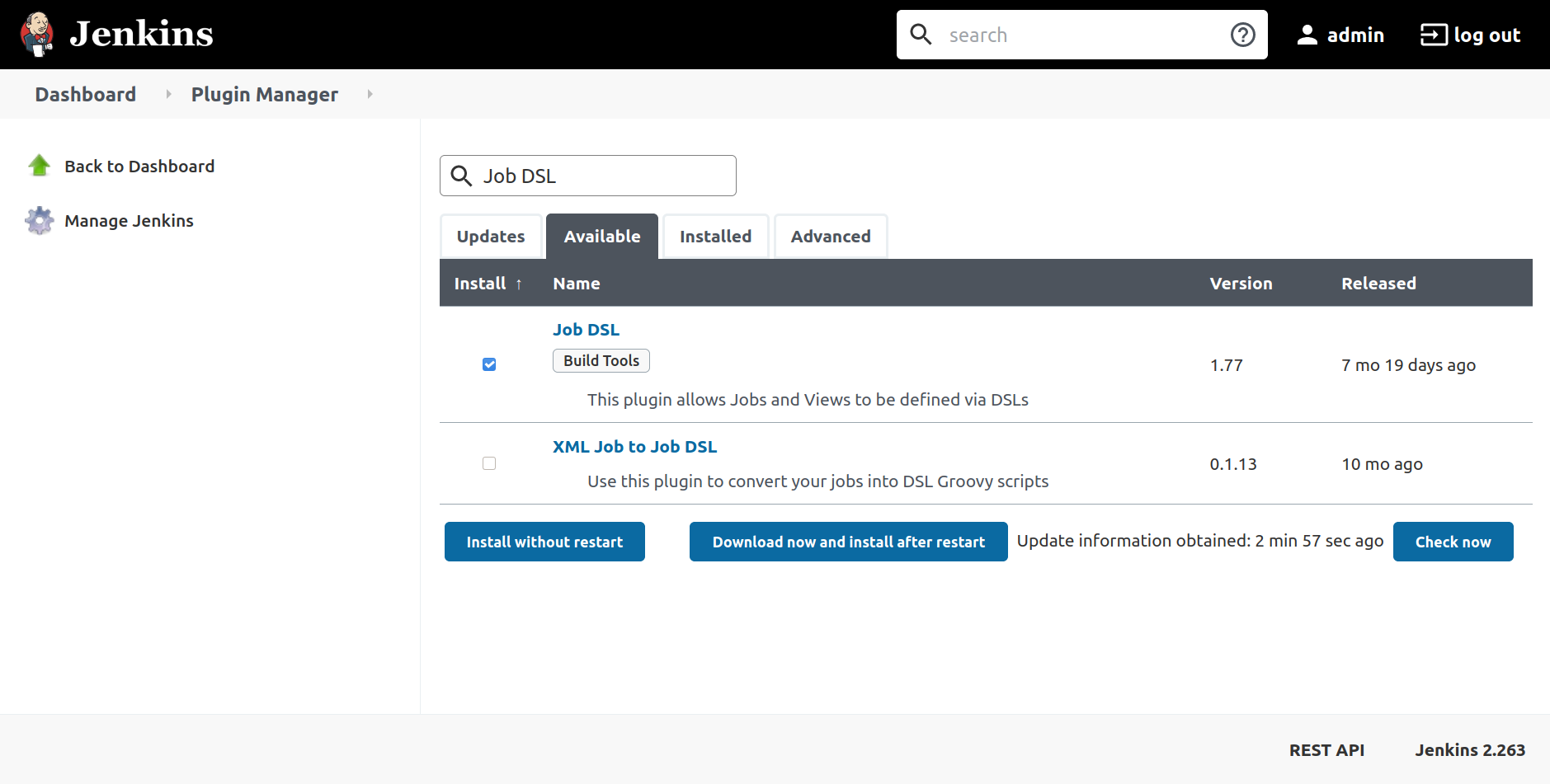 Plugin Manager page showing Job DSL checked