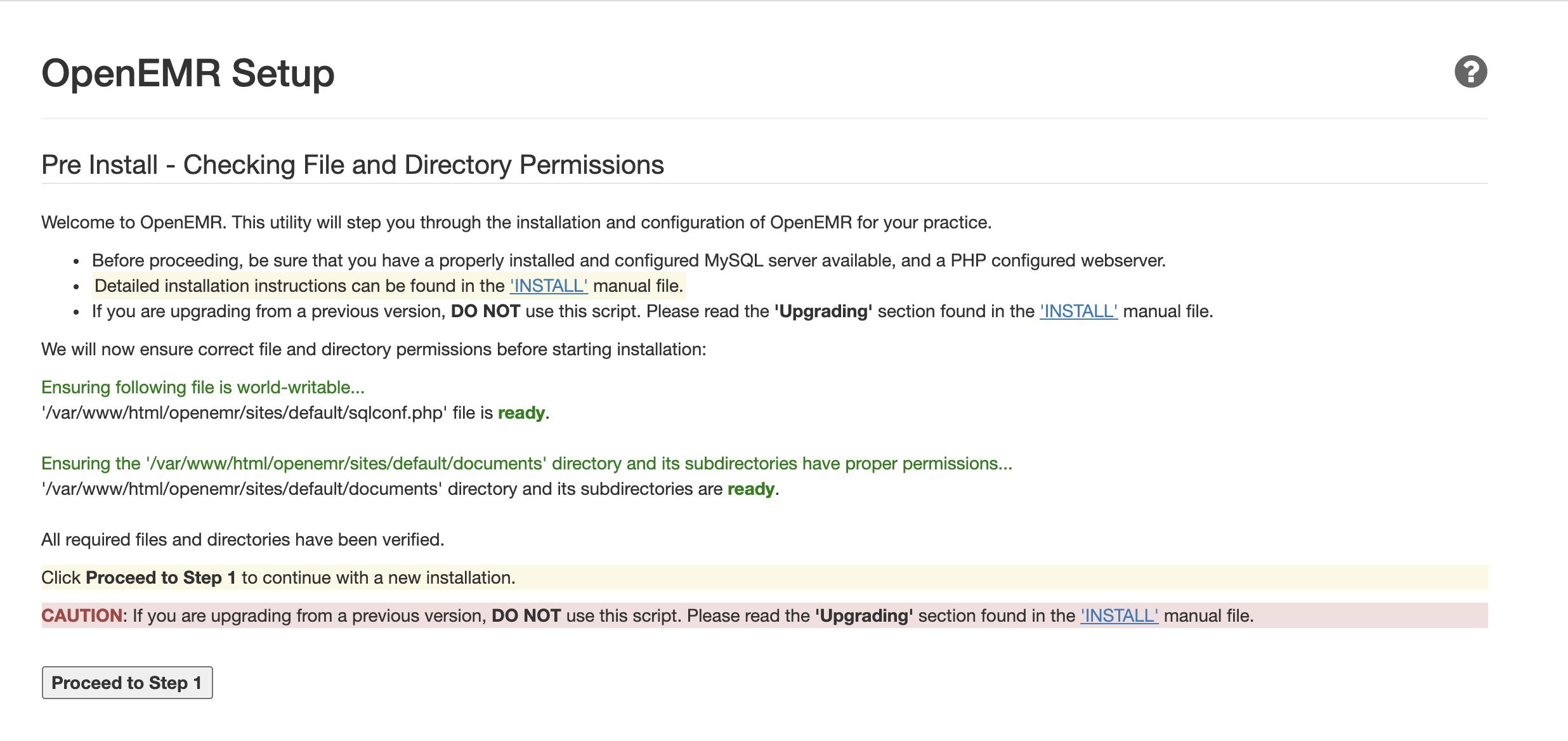 OpenEMR setup page