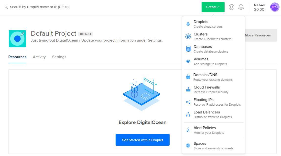 Digital Ocean Cloud Control Panel