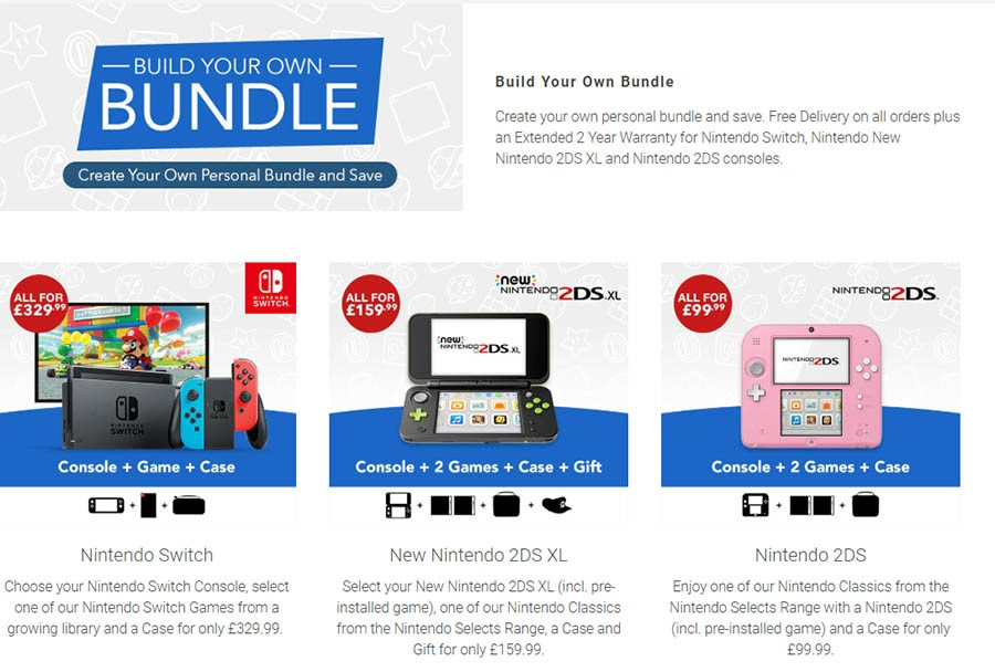 """Example of """"Build Your Own Bundle"""" of Nintendo products."""