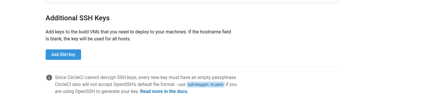 Adding SSH Keys section of the settings page