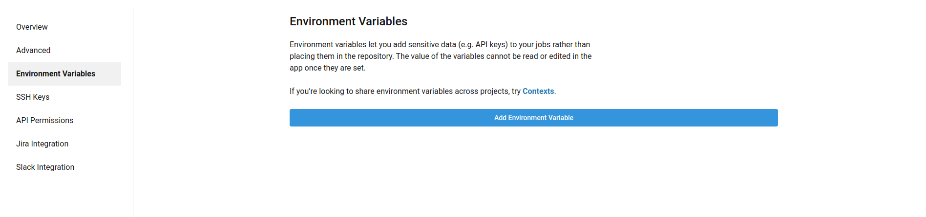 Environment Variables section of the settings page