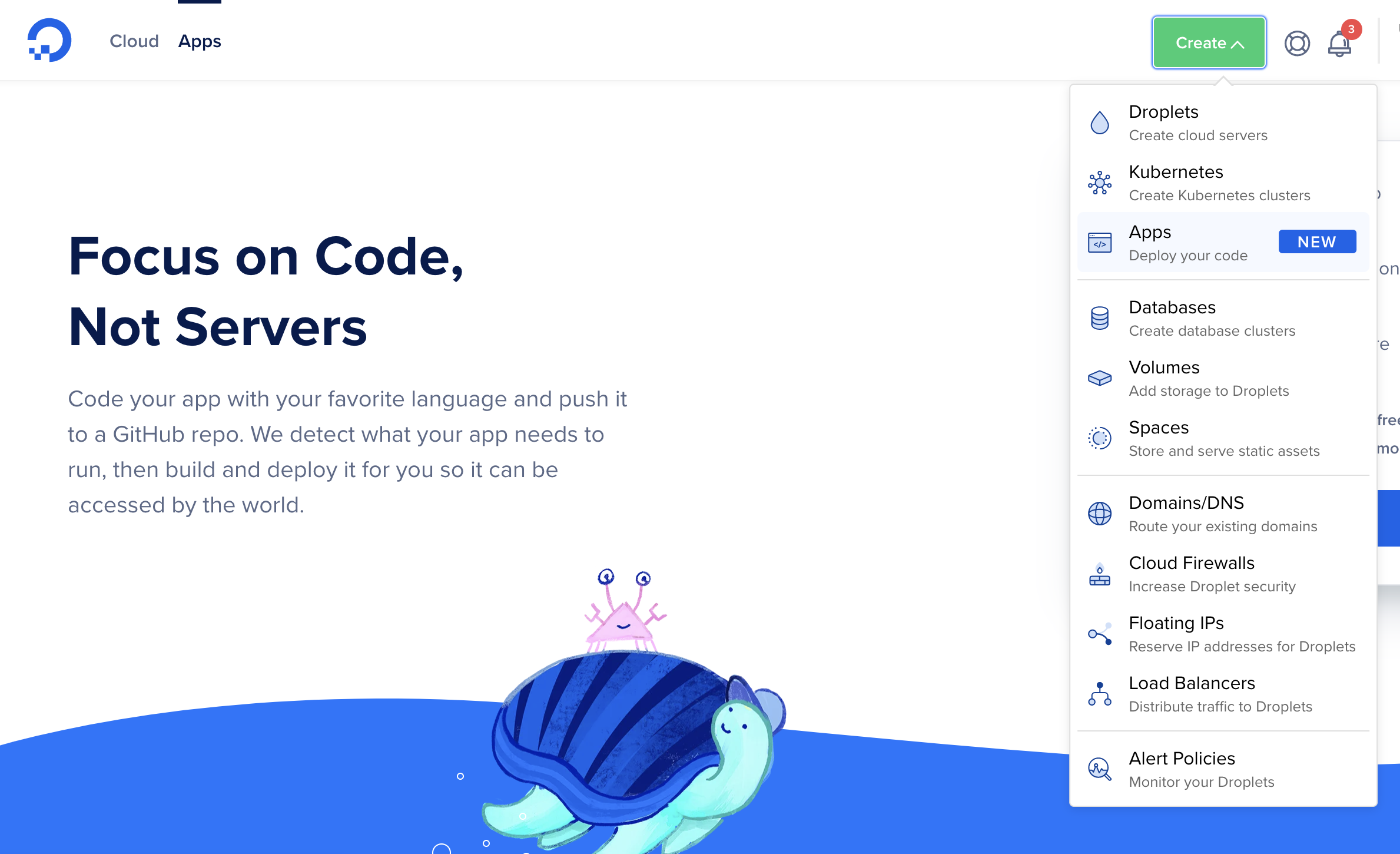 Create a new app page in the DigitalOcean interface