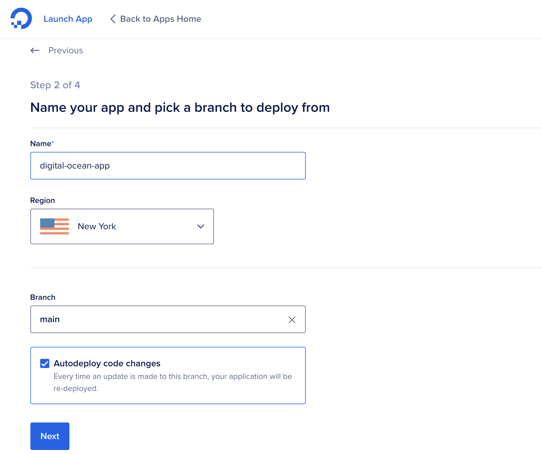 Select branch and location in the DigitalOcean interface