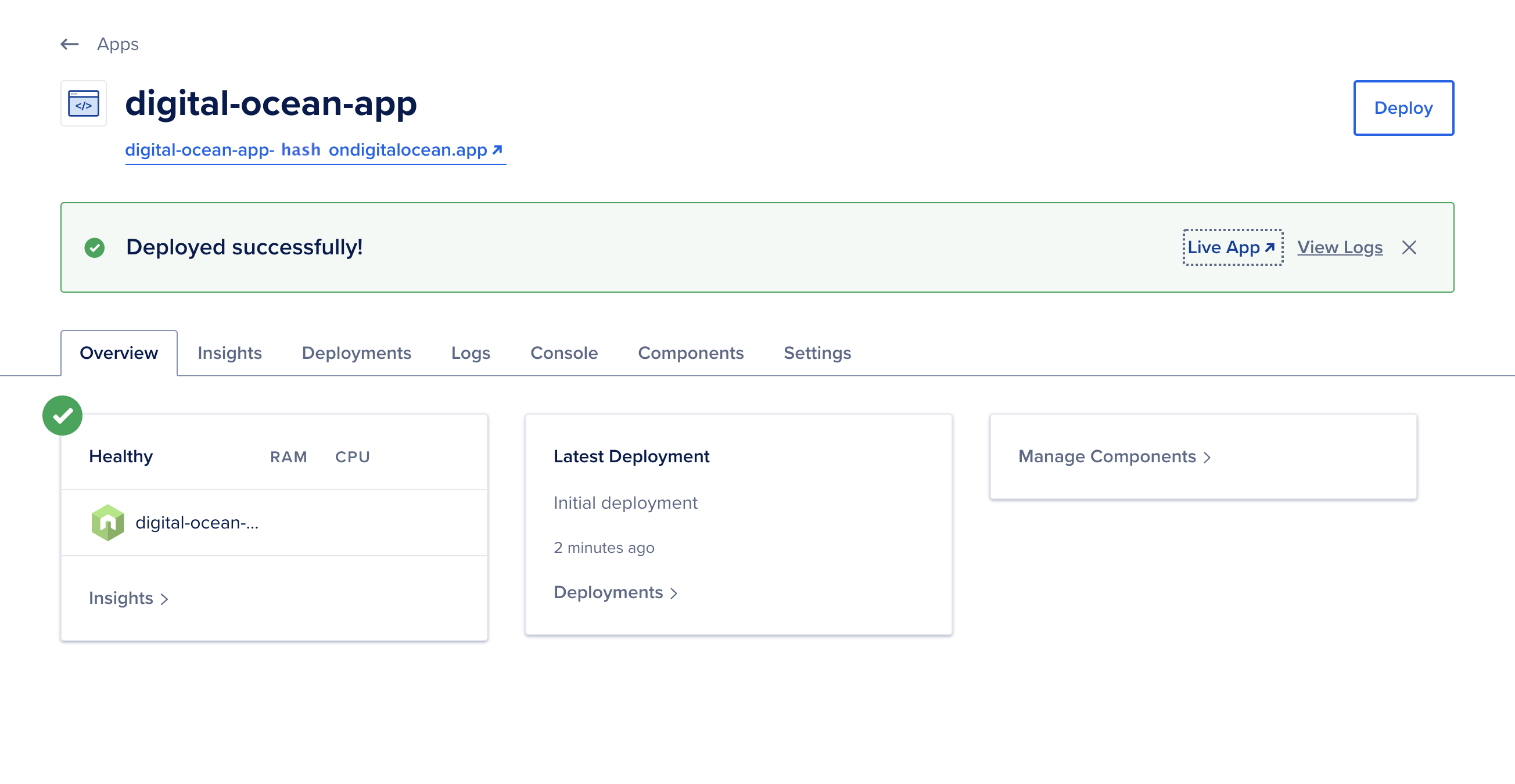 Deploy complete page