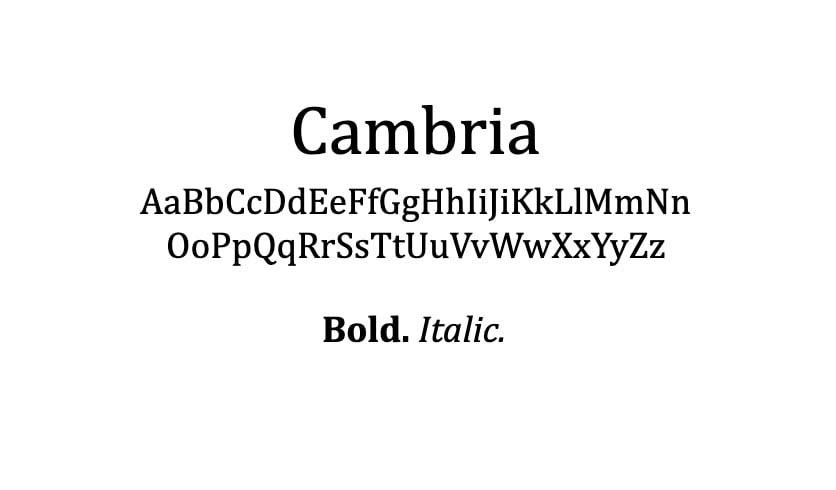 The Cambria font.