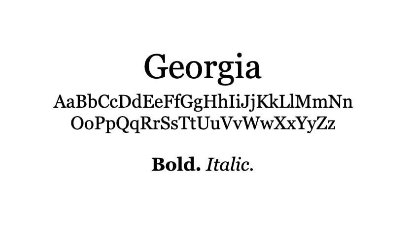 The Georgia font.