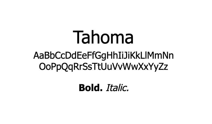 The Tahoma font.