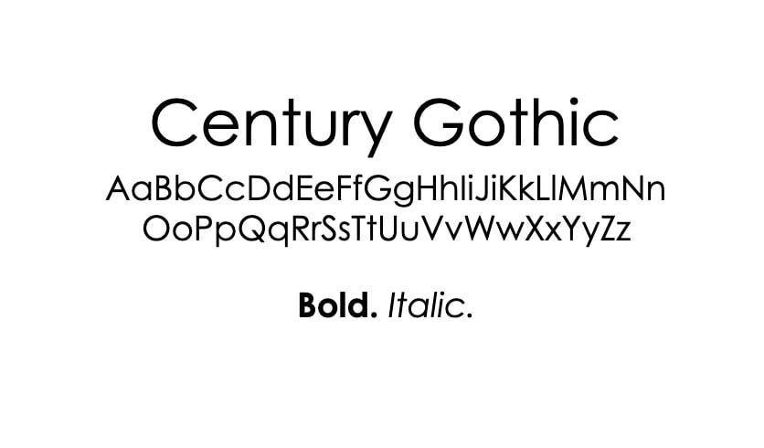 The Century Gothic font.