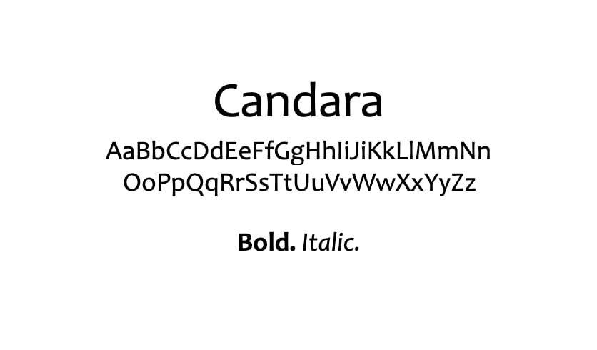 The Candara font.