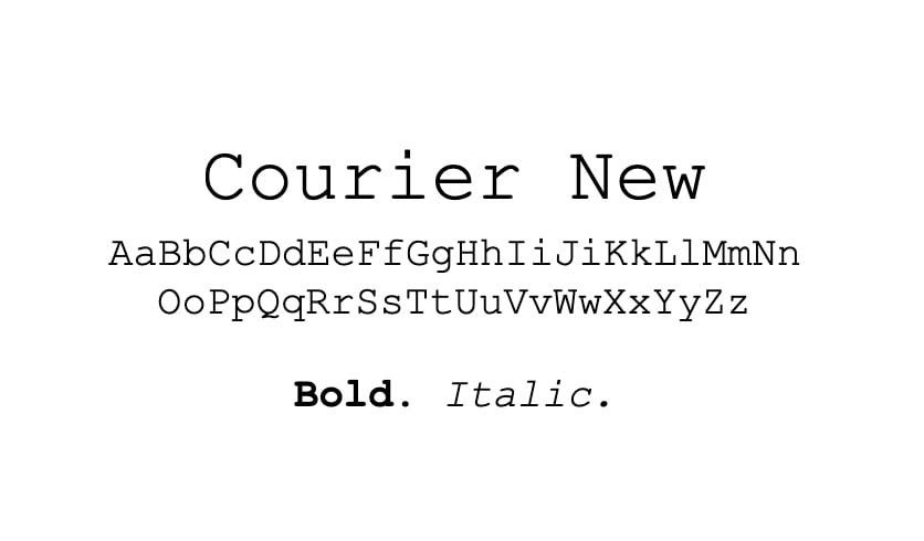 The Courier New font.