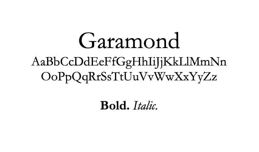 The Garamond font.