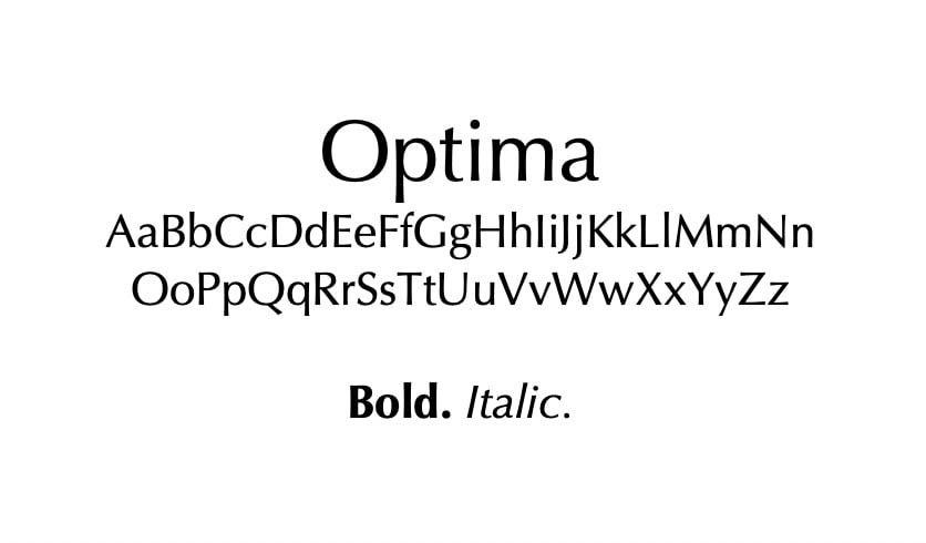 The Optima font.