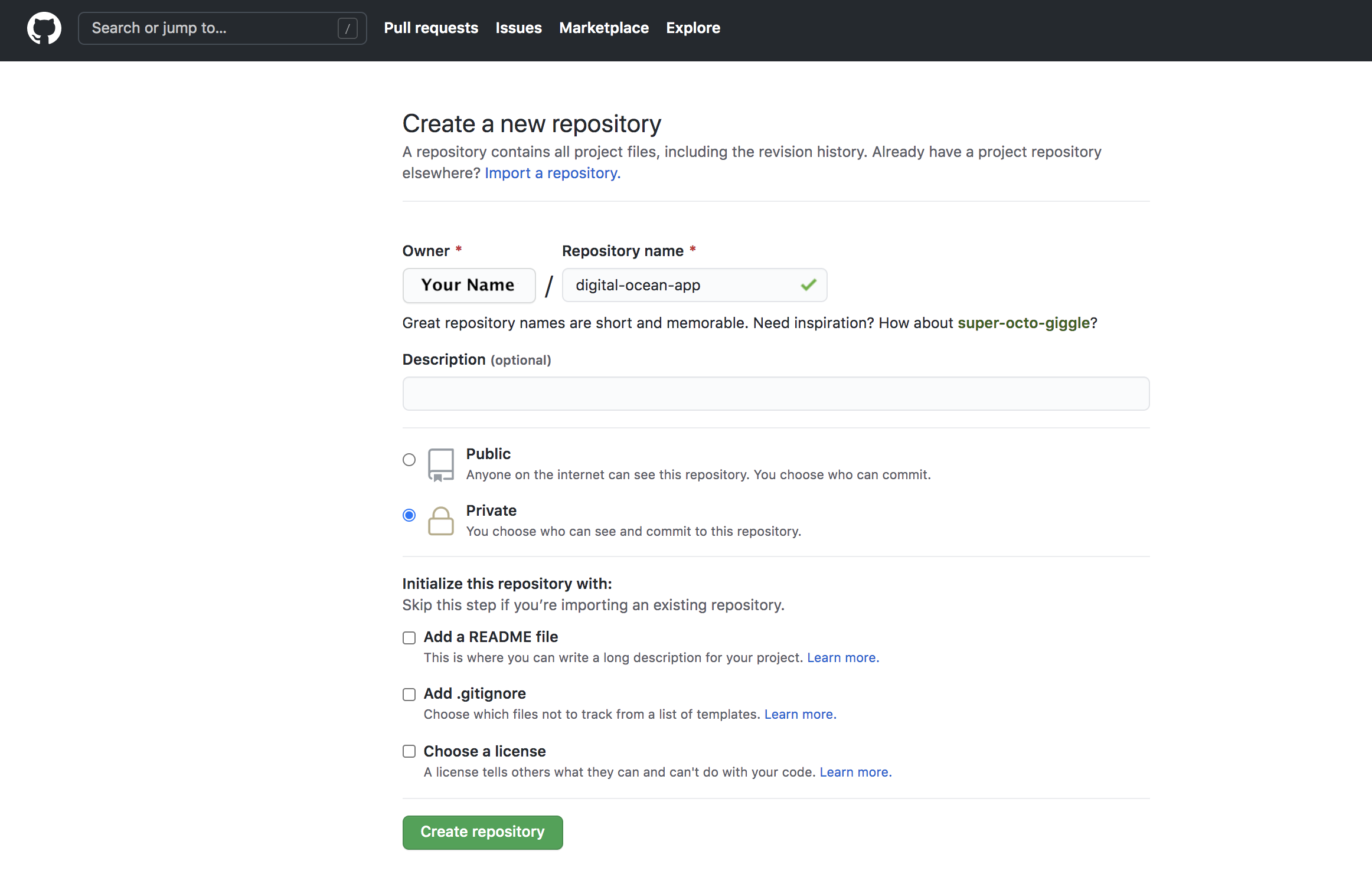 New GitHub repository page