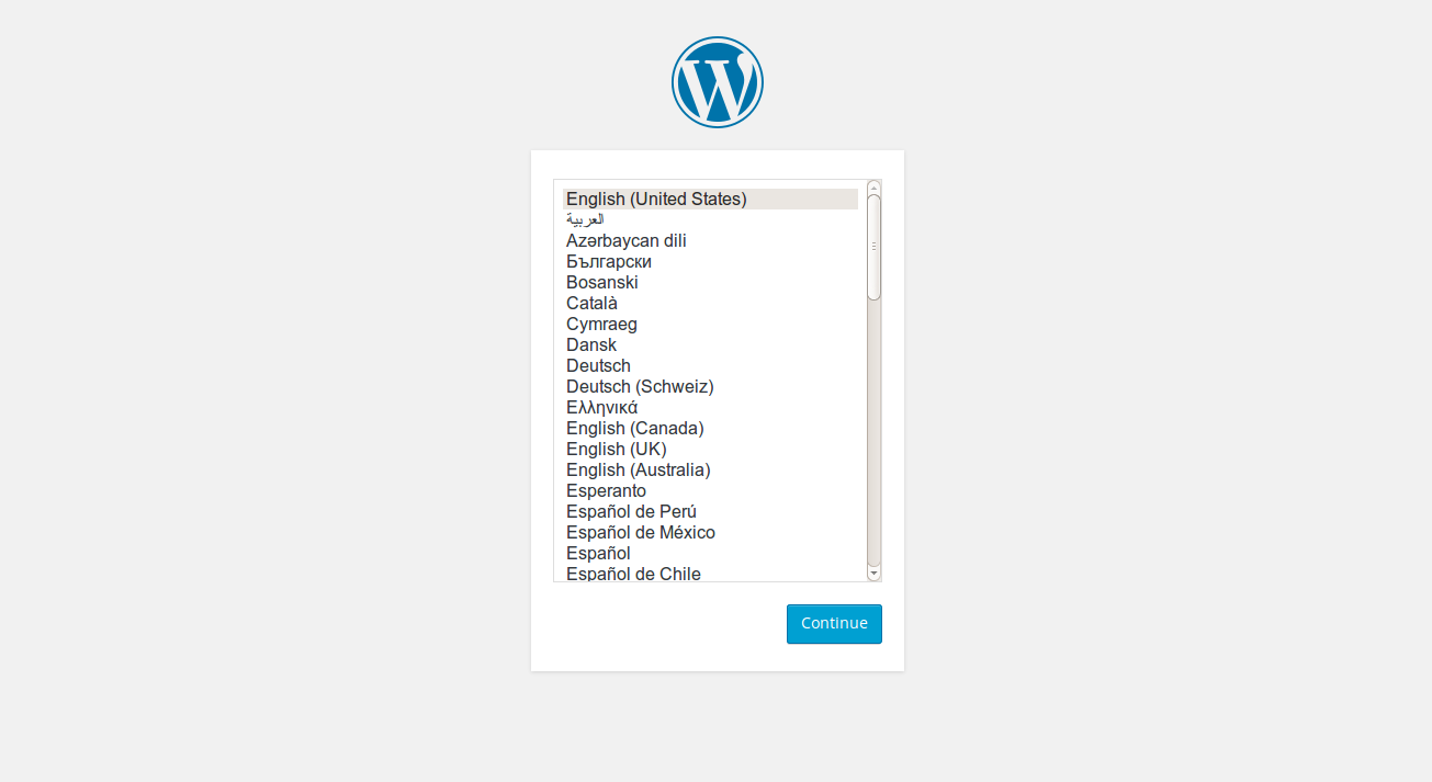 Screenshot showing the WordPress logo and a list of language