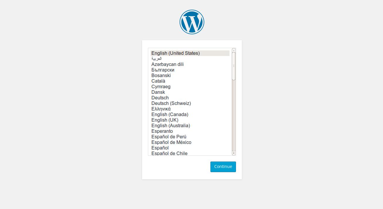 Screenshot showing the WordPress logo and a list of language