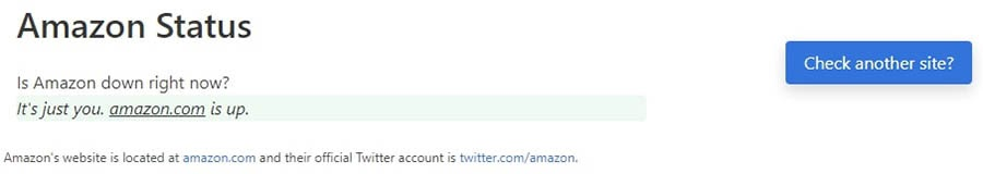 Amazon.com's status on Down for Everyone or Just Me.
