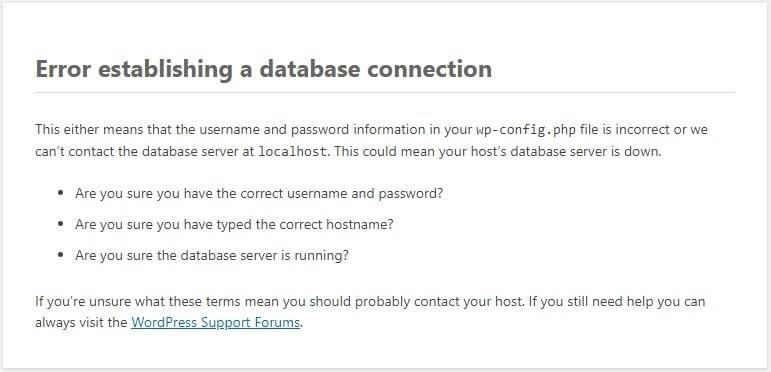 An error establishing a database connection message.