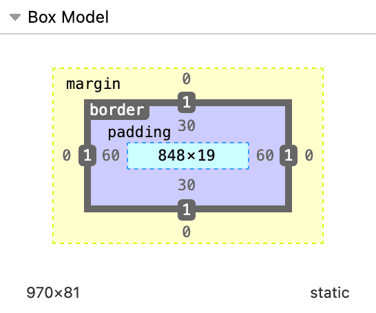 Diagram of the box model with the padding area of the diagram showing a value of 30 for the top and bottom and a 60 for the left and right.
