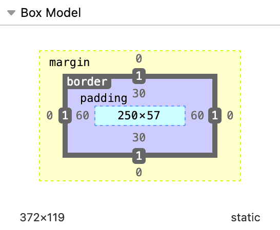 Diagram of the box model with height and width values set in blue at the center of the box with a width of 250 and black sans-serif text below showing a total width of 372.