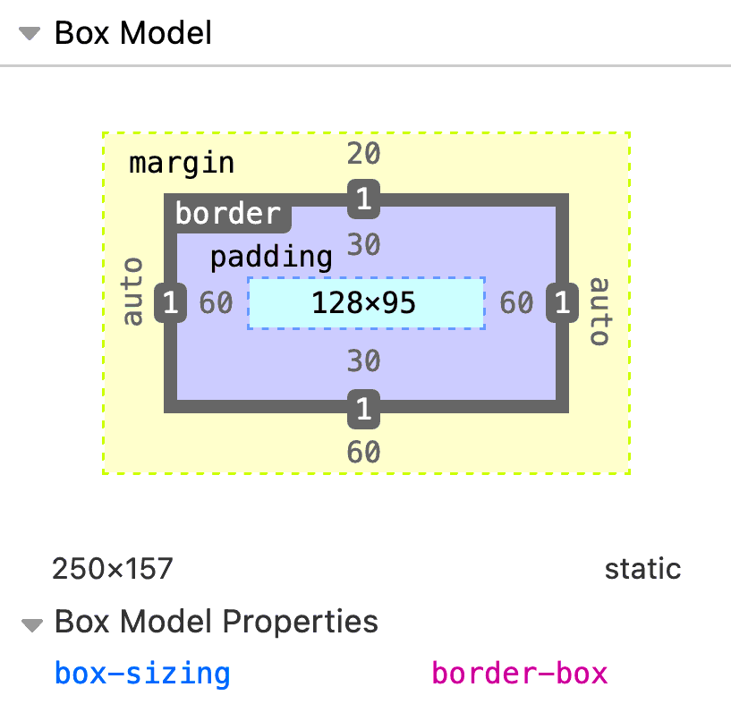 Diagram of the box model set to border-box with margin set in yellow, border set in gray, padding set in purple, and the height and width set in blue.