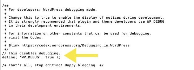 WordPress debugging code added to the 'wp-config.php' file.