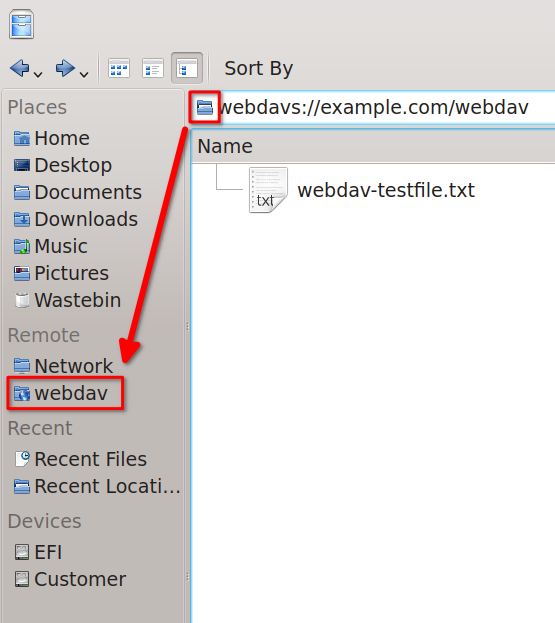 Image showing the WebDAV server in the Dolphin Remote locations