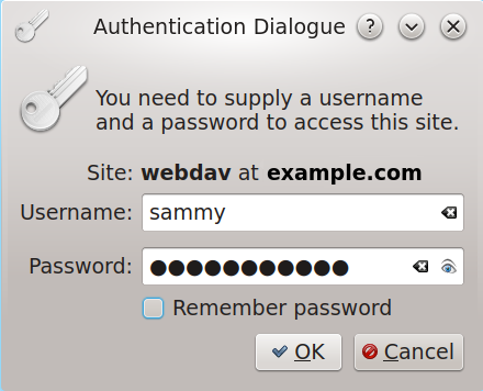 image showing the username and password dialog box