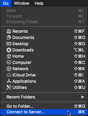 Image showing the Go menu in the Finder application