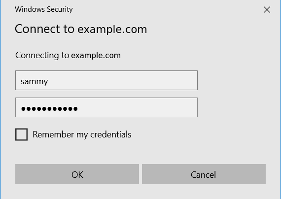 Image showing username and password entry dialog
