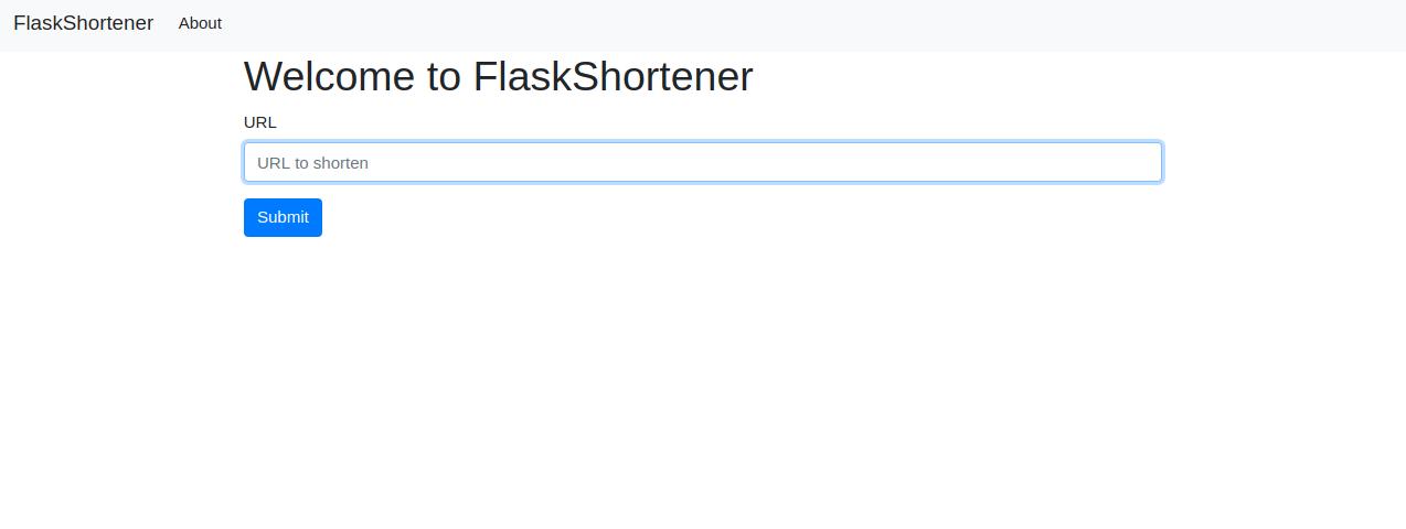 Flask Shortener Index page