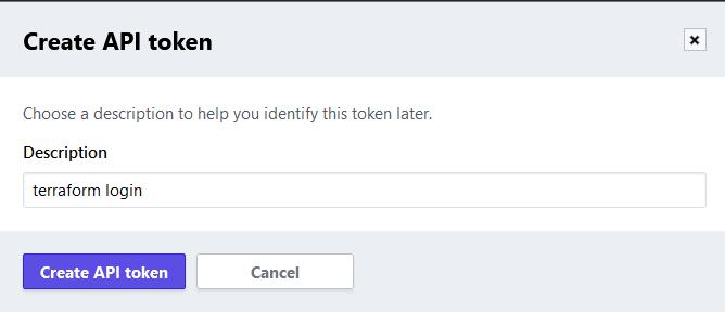 Terraform Cloud - Create API token