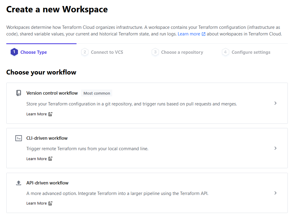 Terraform Cloud - Choosing a workspace type