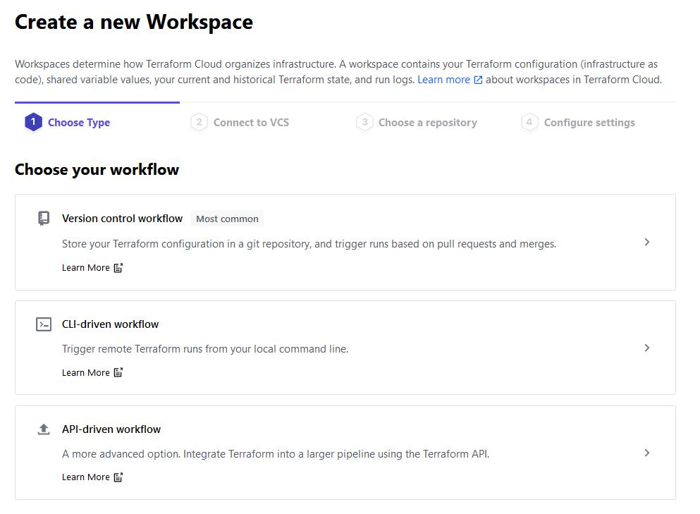 Terraform Cloud - Choosing a workspace type