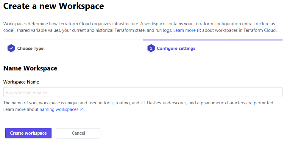 Terraform Cloud - Setting workspace name