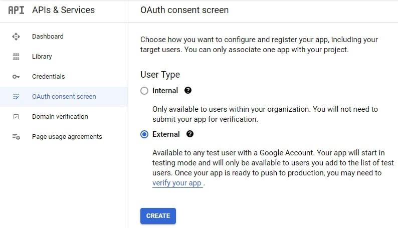 Setting up an OAuth consent screen.