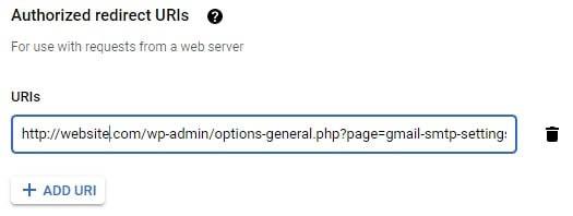 Adding an authorized redirect URL.