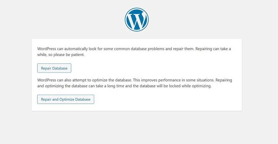 The WordPress database repair tool.