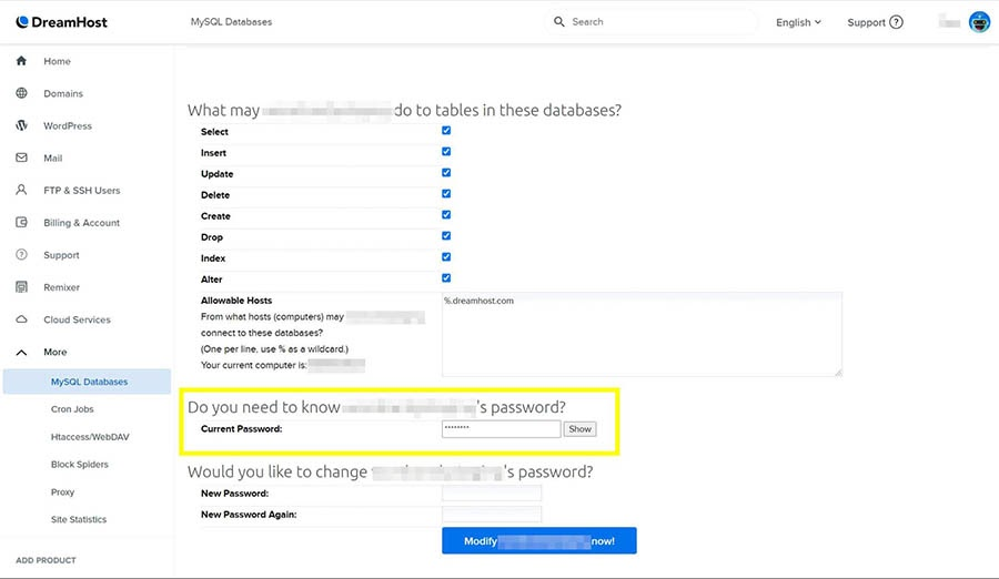 The password options for a database user in the DreamHost Control Panel.