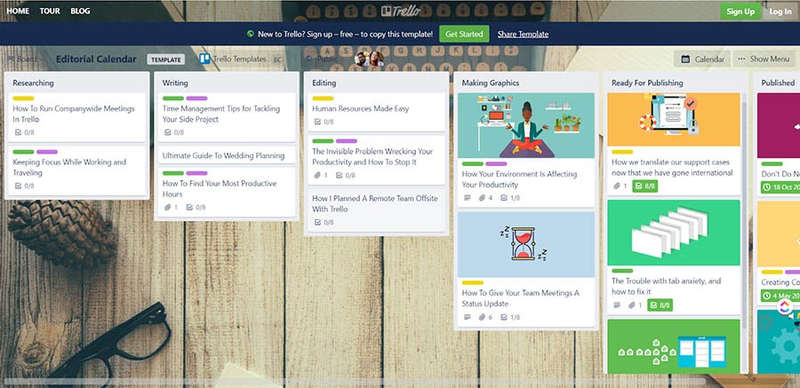 Example of Trello's Editorial Calendar template.