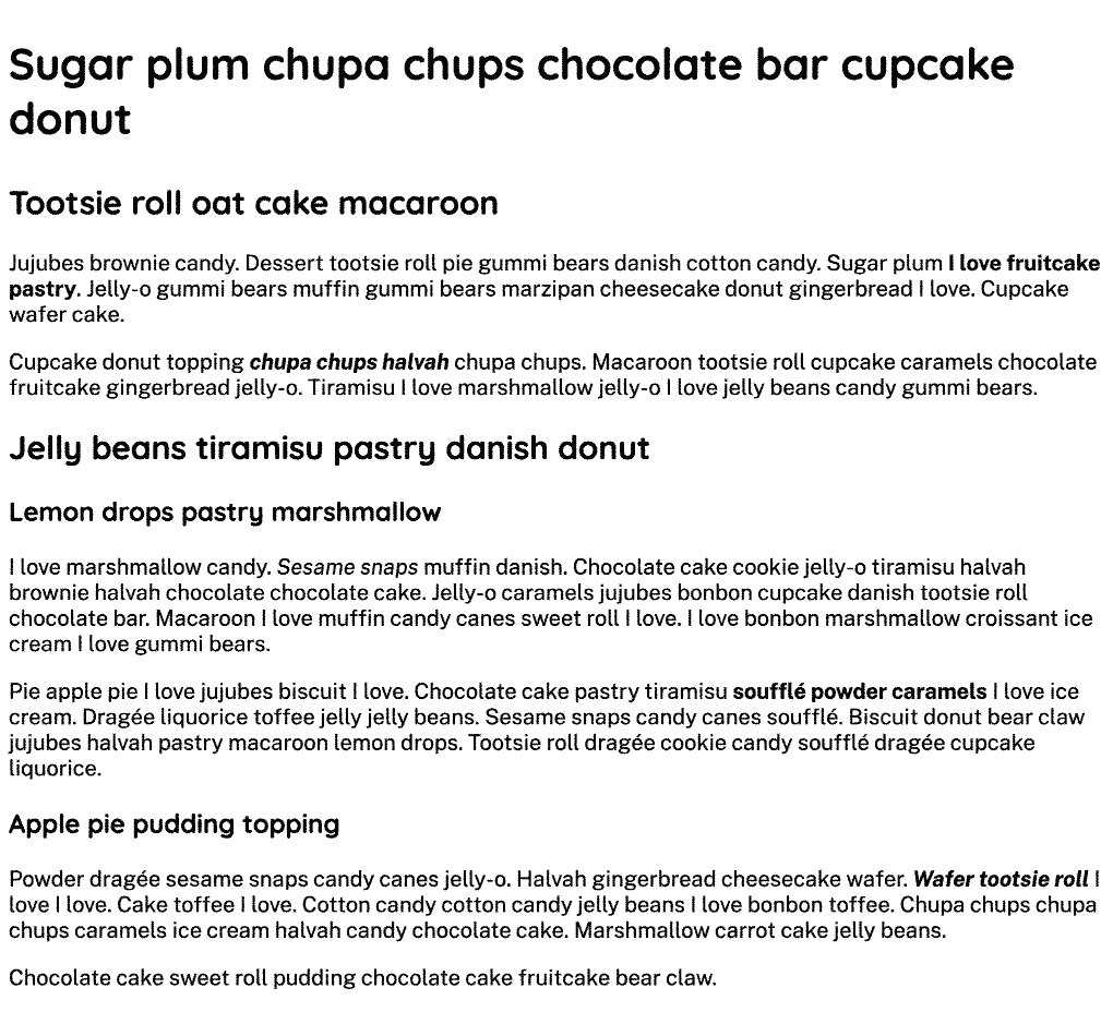 Content with black text on a white background with heading text in a rounded sans serif font and the paragraphs in sans serif font with various sized text.