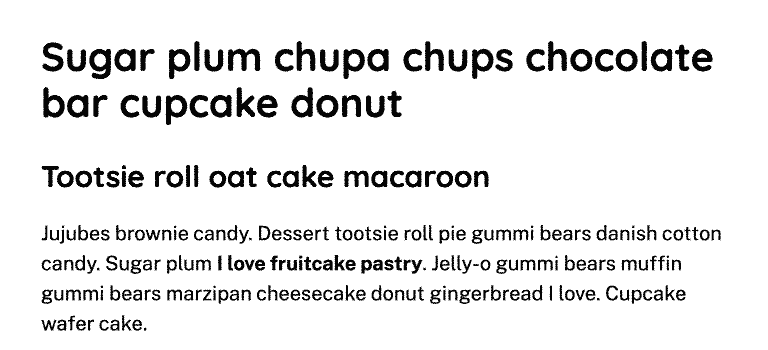 Text content in black on white with headlines closer together vertically and paragraph lines of text further apart.