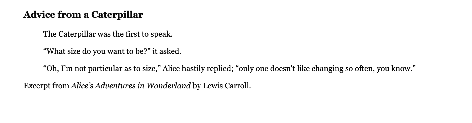 Text selection in a default serif font in black with a larger, bold header, an indented quotation, and citation of the quote.