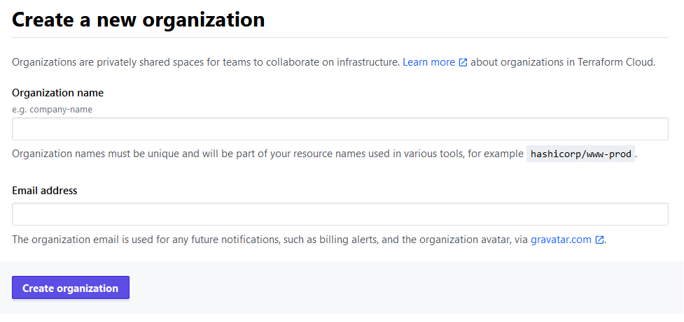 Terraform Cloud - Create a new organization