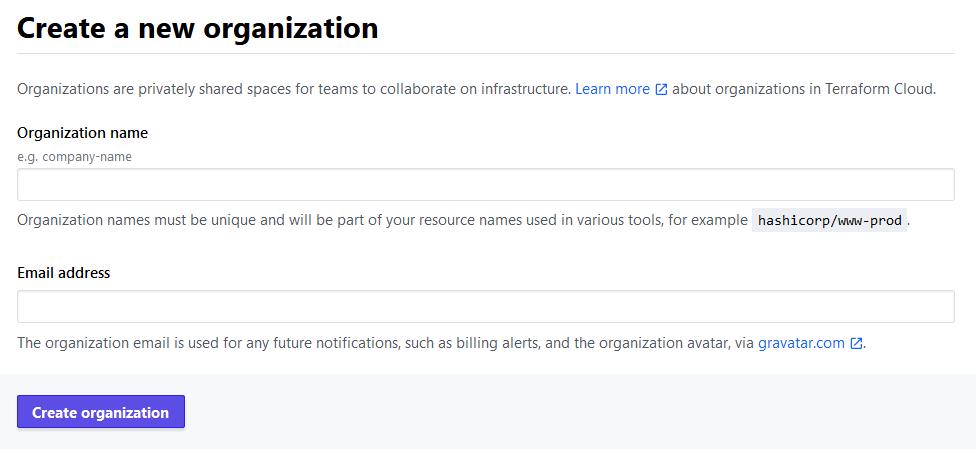 Terraform Cloud - Create a new organization