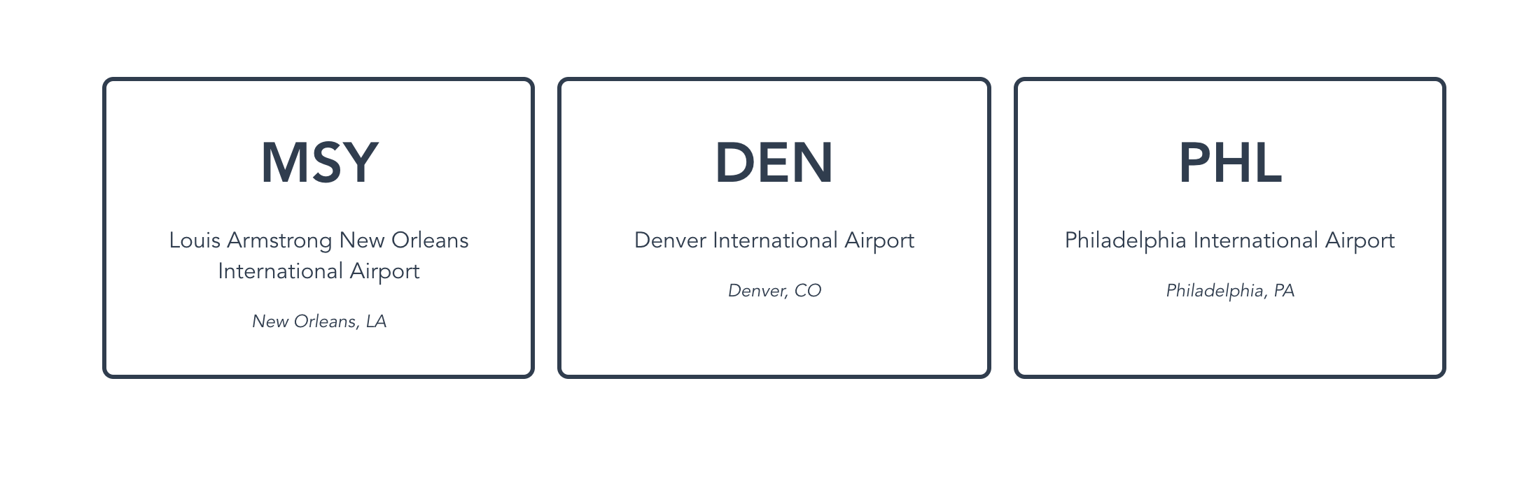 Styled cards containing airport data from the development dataset.