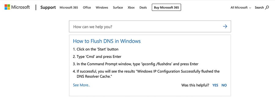 Flushing the DNS cache in Windows.