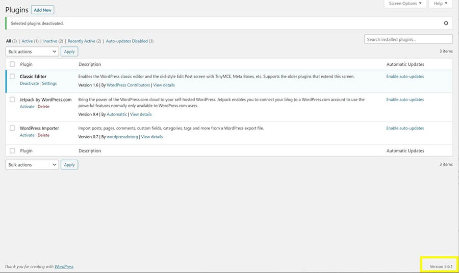 The WordPress version in use on a website.