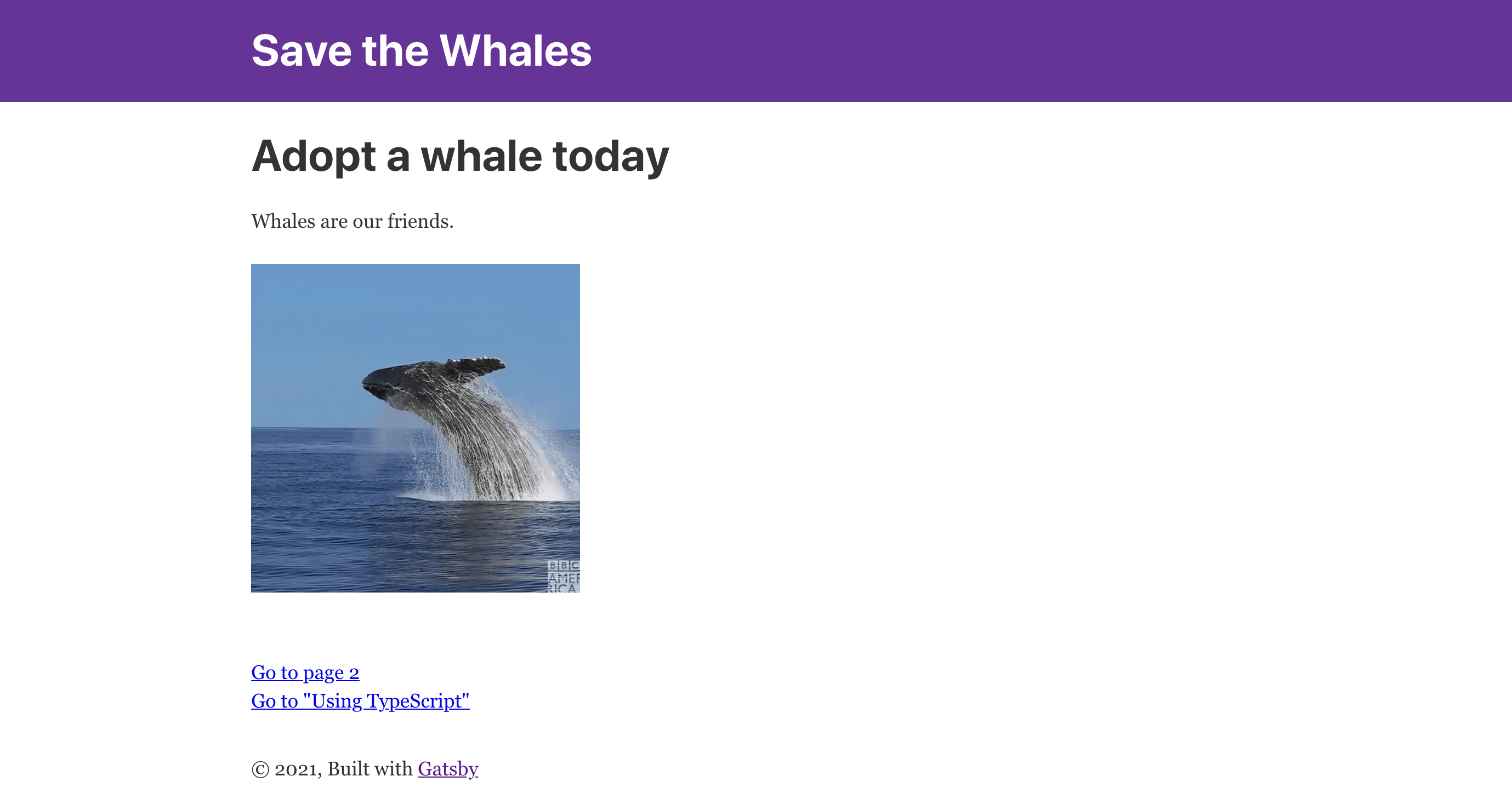 Front page of a Save the Whales website
